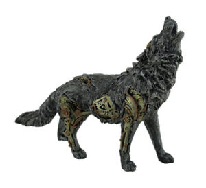 Zeckos Cool Steampunk Style Howling Gray Wolf Statue