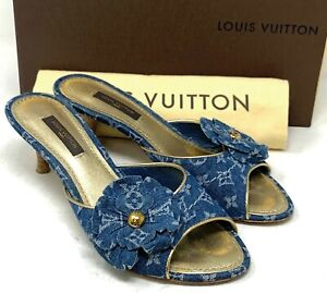 Authentic LOUIS VUITTON Monogram Denim Sandals Mules Heels #35.5 US 5 Rank AB