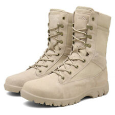 Mens Leather Ankle Boots Army Tactical High Top Combat Military Lace Up Shoes