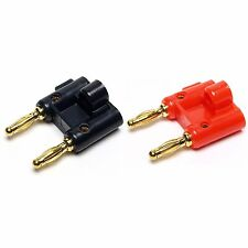 Pair Gold Dual Banana Plug Post Jack Speaker Wire Cable Audio Connector