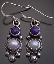 Purple Charoite &  Fresh Water Pearl Earrings by Erick Begay - EF32H
