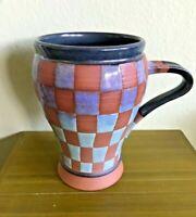 Handmade Studio Pottery Stoneware Coffee Mug Cup Blue Green Checkerboard SIGNED