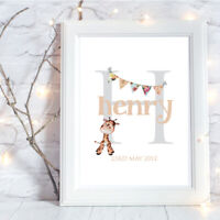 Personalised A4 Print,Initial,Baby,Family,Name,Gift,Wall Art,Bunting-NO FRAME
