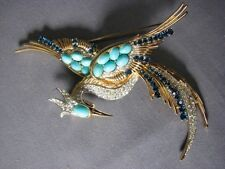 Signed Vintage Faux Diamond Turquoise Sapphire Boucher Bird Paradise Brooch Pin