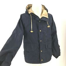 VINTAGE COLUMBIA- MEN'S SMALL - NAVY GORE TEX SNAP FRONT HOODED JACKET