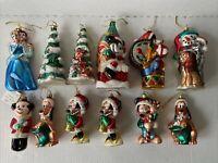 Vintage Walt Disney Lot Of 12 Glass Christmas Ornaments