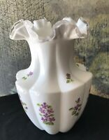 """Fenton Art Glass Ribbed Vase Large 10"""" Silver Crest Violets in the Snow   Beauty"""