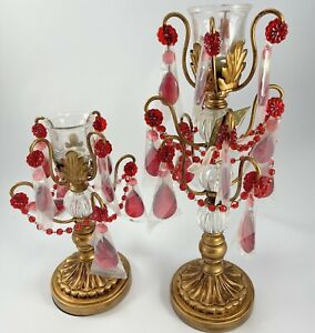 Opulent Treasures 2 Candle Holders Red Jeweled Christmas Holiday Gold Tone