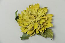 Large Bright Yellow Handmade Genuine Leather Flower Brooch