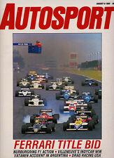 Autosport 8 Aug 1985 - German GP Ferrari Michele Alboreto, Road America Indycar