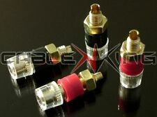 4 x Insulated Speaker Binding Posts / Terminals. Premium 24k Gold Plate for 4mm