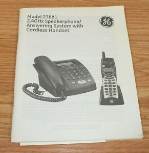 Replacement Manual FOR GE (27881) 2.4GHz Corded Telephone Base w/Speakerphone