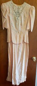 Scott McClintock Vintage 80's Peach Dress Open Back Lace Sequin Wedding/party