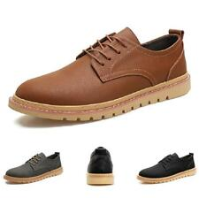 Mens Leisure Leather Shoes Flats Round Toe Lace up Breathable Work Office Casual