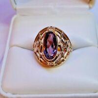 Vintage Soviet Rose Gold Filigree Alexandrite Ring 14K 583 Russian USSR SZ 5.75