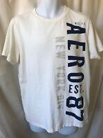 Aeropostale AERO '87 New York Div. Vertical Logo, White Tee Men L Crew SS. EUC.