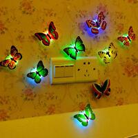 10pcs 3D Butterfly LED Wall Mirror Sticker Lights Kids Home DIY Family Art Decor