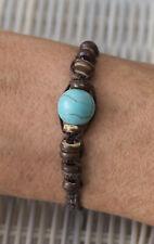 Bracelet brésilien amitié marron Grosse perle bleu turquoise- 21167 -FS9