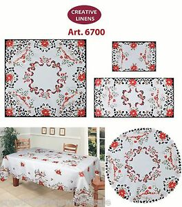 Holiday Embroidered Christmas Tree Poinsettia Placemat Table Runner Tablecloth