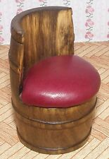 1:12 Scale A Single Red Leather Barrel Chair Dolls House Miniature Pub - Bar