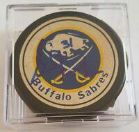 Grant Fuhr HOF signed  VINTAGE ZIEGLER NHL hockey puck Buffalo Sabres HOLE!