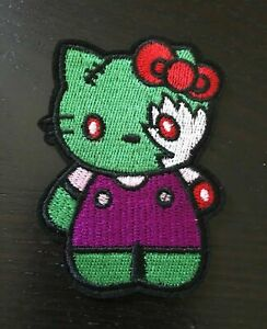 """HELLO KITTY AS zombie  EMBROIDERED IRON ON /SEW ON PATCH new 2.5""""x3"""""""