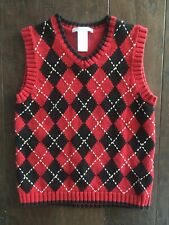 JANIE & JACK Christmas Holiday Argyle Vest Boy's Size 5 Red Black Sweater