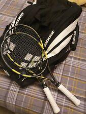 Pair of Babolat Pure Aero VS - Grip 3 with retro 12 racket bag