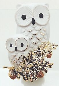 BATH & BODY WORKS WALLFLOWERS 2 OWLS ON GOLDEN ACORN BRANCH PLUGIN NEW!