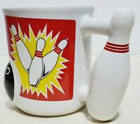 3D Bowling Coffee Cup Mug with Pin Handle and Raised Ball Ceramic