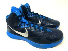 Nike Lunarlon Hyperquickness Mens Blue High Top Basketball Athletic Shoes Sz 11