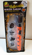 "Halloween Projection Flashlight Light 6"" 4 Spooky Lenses NIP"
