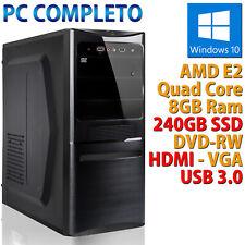 Ordinateur PC Bureau Nouveau AMD E2 Quad Core RAM 8GB DDR3 SSD 240GB Windows 10