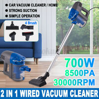 700W 8500PA  Vacuum Cleaner  Wired 2 in1 Corded HandheldW/ 4 Brush Home