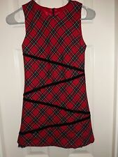 The Children'S Place Red Black Plaid Sleeveless Lined Dress Size 8