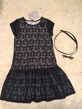 Brand New Size 8 Deux Par Deux Black Lace Dress with patent leather bow belt