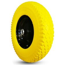 "1 New Yellow 16"" 4.80/4.00-8"" Flatfree Tire w/Rim Hub 3-6"" Bore φ5/8 & φ3/4"""
