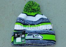 AUTHENTIC Seattle Seahawks 2014 New Era On Field Sideline POM Beanie Knit Hat