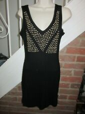 BNWT £35 UK 10 Rare Topshop Dress Black Studded Long Vest Bodycon Tank Sleeveles