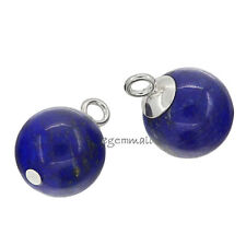 2 Sterling Silver Lapis Lazuli Dangle Charm Earring Pendant Beads 10mm #51773