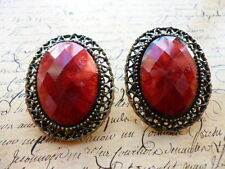 Vintage Bronze Elegant Filigree Red Stone Fashion Jewellery Stud Earrings