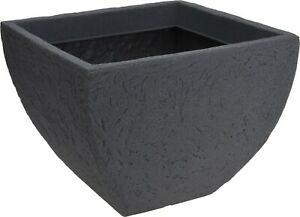 Very Large Square Shaped Deep Planter Grey Stone Effect Plant Pot Planters