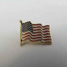 100 detailed wavy flag large American Flag lapel pins gold finish made in USA