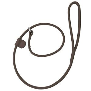 NEW HAND-MADE LOOP BROWN SOFT LEATHER DOG LEASH LEAD TRAINING SLIP ROLLED SHOW