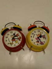 Mickey & Minne Mouse Metal Clocks Bradley Made In Germany Working Wind-Up Alarm!