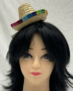 Mini Mexican Sombrero Hat on Headband Fancy Dress Fiesta Costume Spanish Straw