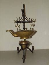 Antique Brass Victorian Teapot & Burner with Forged Cast Iron Stand Alfred Koehn