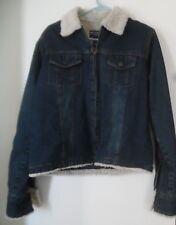 STEVE & BARRYS Blue Jean relaxed fit Faux Fur Trimmed Jean jacket sz M Medium