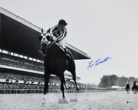 Ron Turcotte 1973 Belmont Stakes Secretariat Signed 16x20 B&W Photo BAS
