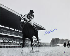 Ron Turcotte 1973 Belmont estacas Secretaría firmado 16x20 B&W Photo Bas